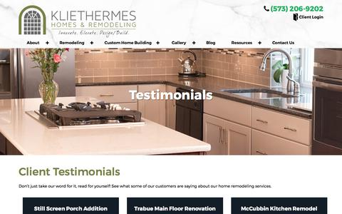 Screenshot of Testimonials Page kliethermes.com - Testimonials, Reviews - Kliethermes Homes & Remodeling - captured Oct. 17, 2017