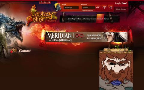 Screenshot of Contact Page fantasyonline.net - Contact - Fantasy Online Network - Sword & Sorcery / Sci-Fi News - Reviews - Interviews - Community - captured Nov. 3, 2014