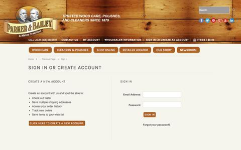 Screenshot of Login Page mybigcommerce.com - Parker & Bailey - Sign in - captured Sept. 18, 2014