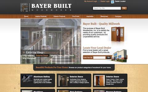 Screenshot of Home Page bayerbuilt.com - Exterior Doors, Interior Doors, Millwork | Bayer Built Woodworks - captured Oct. 5, 2014