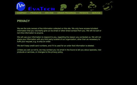 Screenshot of Privacy Page evatech.net - WELCOME TO EVATECH - captured Aug. 29, 2017