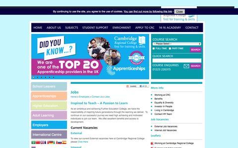 Screenshot of Jobs Page camre.ac.uk - Jobs - Cambridge Regional College - captured Oct. 19, 2016