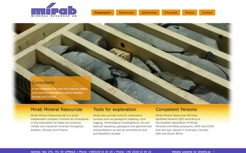 Screenshot of Home Page mirab.se - Mineral Resources - captured Oct. 7, 2014