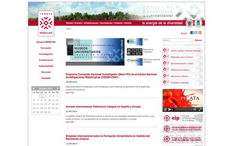 Screenshot of Home Page campusmoncloa.es - Campus Moncloa: Campus de Excelencia Internacional - captured Oct. 1, 2014