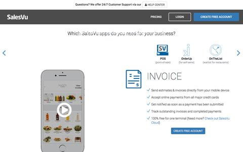 Screenshot of Home Page salesvu.com - POS System - Point of Sale for iPad and iPhone | SalesVu - captured April 12, 2018