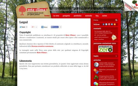 Screenshot of Terms Page reteclima.it - Legal | Rete Clima - captured Oct. 8, 2014