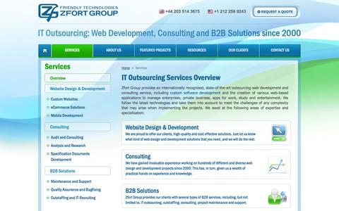 Screenshot of Services Page zfort.com - IT Outsourcing Services Overview | Zfort Group - captured Sept. 19, 2014
