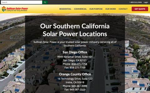 Screenshot of Contact Page Locations Page sullivansolarpower.com - Solar Companies San diego, Los Angeles, Ocean County, Inland Empire - captured April 20, 2019