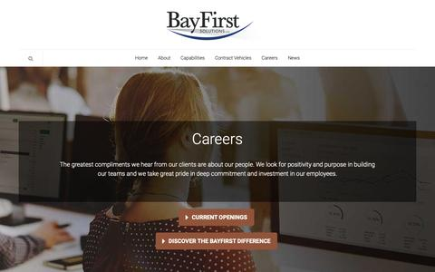 Screenshot of Jobs Page bayfirst.com - Careers - BayFirst Solutions LLC - captured Dec. 14, 2018