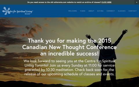 Screenshot of Home Page csltoronto.com - Centre for Spiritual Living Toronto - captured June 18, 2015