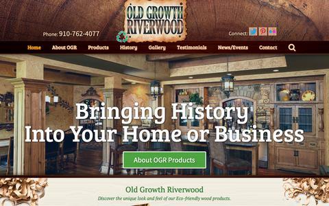 Screenshot of Home Page oldgrowthriverwood.com - Old Growth Riverwood - captured Nov. 15, 2018