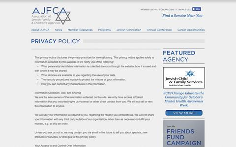 Screenshot of Privacy Page ajfca.org - Association of Jewish Family & Children's Agencies (AJFCA) - Privacy Policy - captured Oct. 4, 2014
