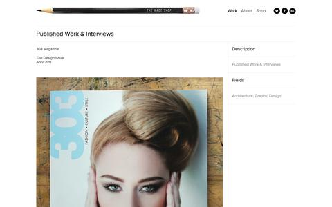 Screenshot of Press Page themadeshop.com - Published Work & Interviews - captured Oct. 8, 2014