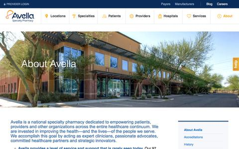 Screenshot of About Page avella.com - Discover Avella Specialty Pharmacy | National Specialty Pharmacy - captured Aug. 3, 2017