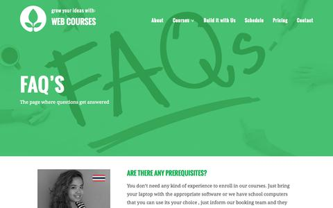Screenshot of FAQ Page webcoursesbangkok.com - FAQ's - Web Courses Bangkok - captured Oct. 1, 2015