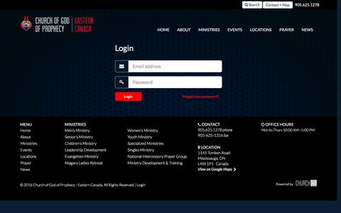 Screenshot of Login Page cogop.ca - Church of God of Prophecy - Eastern Canada | Church of God of Prophecy in Mississauga, ON - captured Jan. 28, 2016