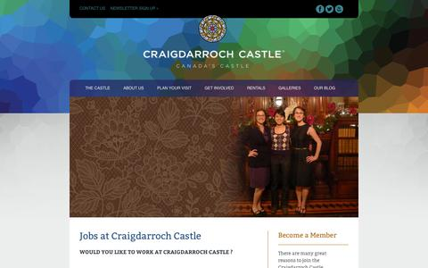 Screenshot of Jobs Page thecastle.ca - Careers - Craigdarroch Castle - Victoria's Legendary Landmark - captured Oct. 3, 2014