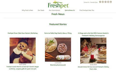 Screenshot of Press Page freshpet.com - Freshpet - Freshpet News | The latest, commercials, interviews, and articles on Freshpet - captured Aug. 4, 2016