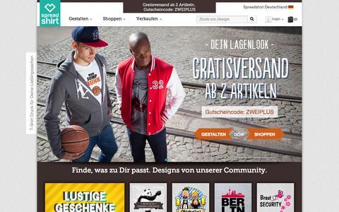 Screenshot of Home Page spreadshirt.de - T-Shirt Druck, T-Shirts bedrucken & designen | Spreadshirt - captured Sept. 18, 2014