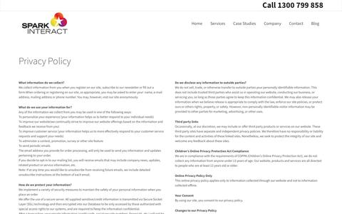 Screenshot of Privacy Page sparkinteract.com.au - Privacy Policy | Spark Interact - captured May 13, 2017