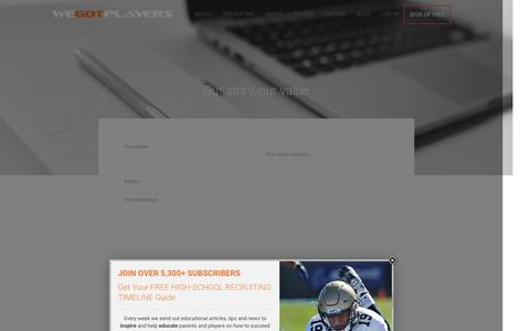 Screenshot of Contact Page wegotplayers.com - Contact - captured Jan. 10, 2016