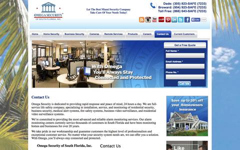 Screenshot of Contact Page omegasecurity.com - Miami Security Company For Home And Business Security | Omega Security - Home & Business Security in Miami, Florida - captured Oct. 7, 2014