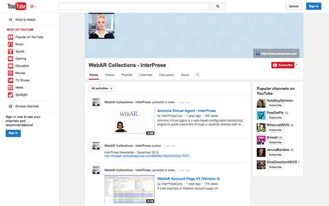 Screenshot of YouTube Page youtube.com - WebAR Collections - InterProse  - YouTube - captured Oct. 23, 2014