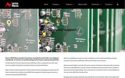Screenshot of Support Page ams-neve.com - Support | AMS Neve - captured Sept. 20, 2016