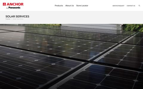 Screenshot of Services Page panasonic.com - Solar Systems: Best Solar Energy Solutions & Services Online for Residential & Commercial in India - Anchor by Panasonic - captured June 24, 2019