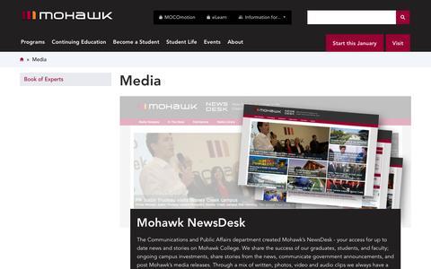 Screenshot of Press Page mohawkcollege.ca - Media   Mohawk College - captured Nov. 27, 2016