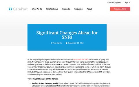 Screenshot of Blog careporthealth.com - Significant Changes Ahead for SNFs - Careport Health - captured Feb. 20, 2020