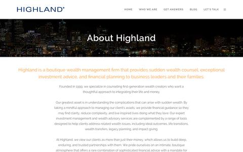 Screenshot of About Page highlandprivate.com - About Highland - Highland Private - captured Jan. 29, 2016