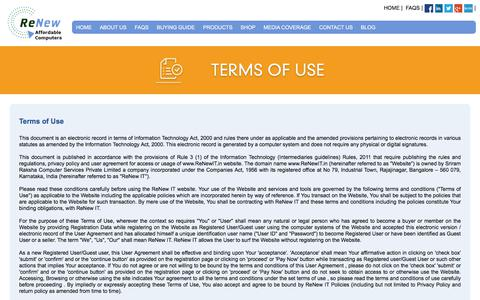 Screenshot of Terms Page renewit.in - Terms of Use   RenewIT - captured Oct. 21, 2017