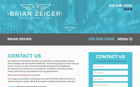 Screenshot of Contact Page brianzeiger.com - Contact Us - The Zeiger Firm - captured Jan. 28, 2016