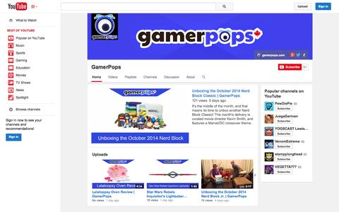 Screenshot of YouTube Page youtube.com - GamerPops  - YouTube - captured Oct. 22, 2014