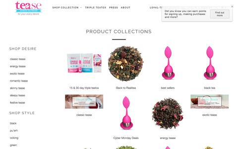 Screenshot of Products Page teasetea.com - Collections - Tease Tea - captured Dec. 7, 2016