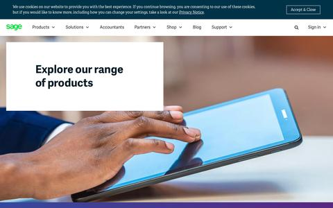 Screenshot of Products Page sage.com - Sage Products - Business Management Software and Services | Sage South Africa - captured July 17, 2019