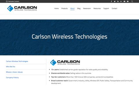Screenshot of About Page carlsonwireless.com - About Carlson Wireless Technologies - captured July 12, 2018
