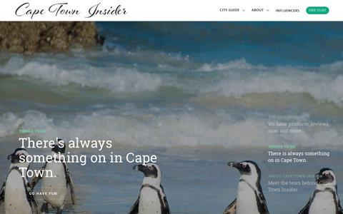 Screenshot of Home Page capetowninsider.co.za - Your Go-To Cape Town Blog • Cape Town Insider - captured July 15, 2018