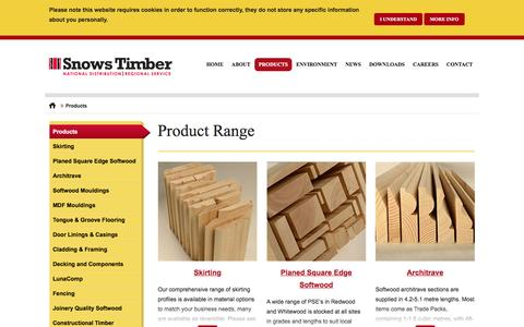 Screenshot of Products Page snowstimber.com - Product Range - Snows Timber - captured Jan. 24, 2016