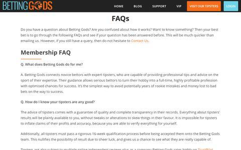 Screenshot of FAQ Page bettinggods.com - Betting Gods Common Questions - captured Jan. 10, 2018