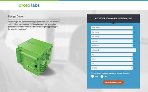 Screenshot of Landing Page protolabs.com - Register to receive a free Design Cube design aid - captured Sept. 30, 2016