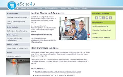 Screenshot of Jobs Page esales4u.de - E-Commerce Jobs Job-Börse Stellenanzeigen E-Commerce Branche - captured Feb. 18, 2016
