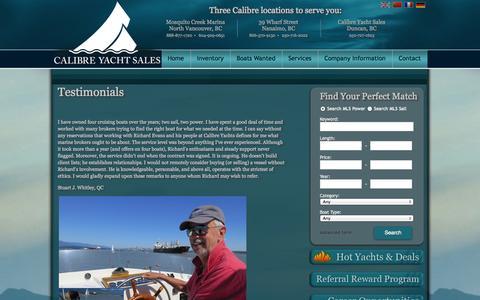 Screenshot of Testimonials Page calibreyachts.com - Calibre Yacht Sales : Vancouver based boat brokerage. We sell used powerboats, sailboats, trawlers, Bayliners, Camanos and more. : Testimonials - captured Oct. 1, 2014