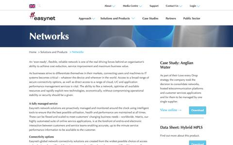 Screenshot of Products Page griffin.com - Easynet - Networks - captured Oct. 3, 2014
