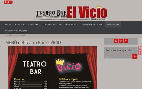 Screenshot of Menu Page elvicio.com.mx - MENÚ del Teatro Bar EL VICIO – Teatro Bar El Vicio - captured Oct. 18, 2018