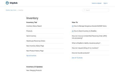 Screenshot of Support Page shipbob.com - Inventory – ShipBob Help Center - captured Nov. 7, 2018