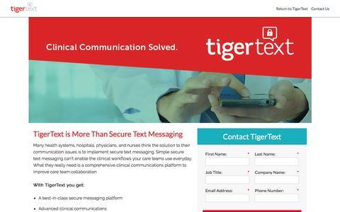 Screenshot of Landing Page tigertext.com - TigerText Landing Page - captured Feb. 28, 2017