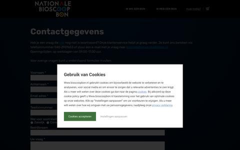 Screenshot of Contact Page bioscoopbon.nl - Contact | De Nationale Bioscoopbon | De Nationale Bioscoopbon - captured Oct. 8, 2018