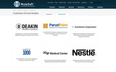 Screenshot of Case Studies Page mulesoft.com - Integration Case Studies | MuleSoft - captured Oct. 10, 2014